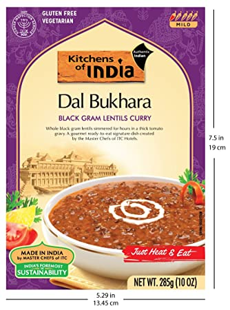 Amazon.com : Kitchens Of India Ready To Eat Dal Bukhara, Black Gram Lentil  Curry, 10 Ounce Boxes (Pack Of 6) : Indian Food : Grocery U0026 Gourmet Food