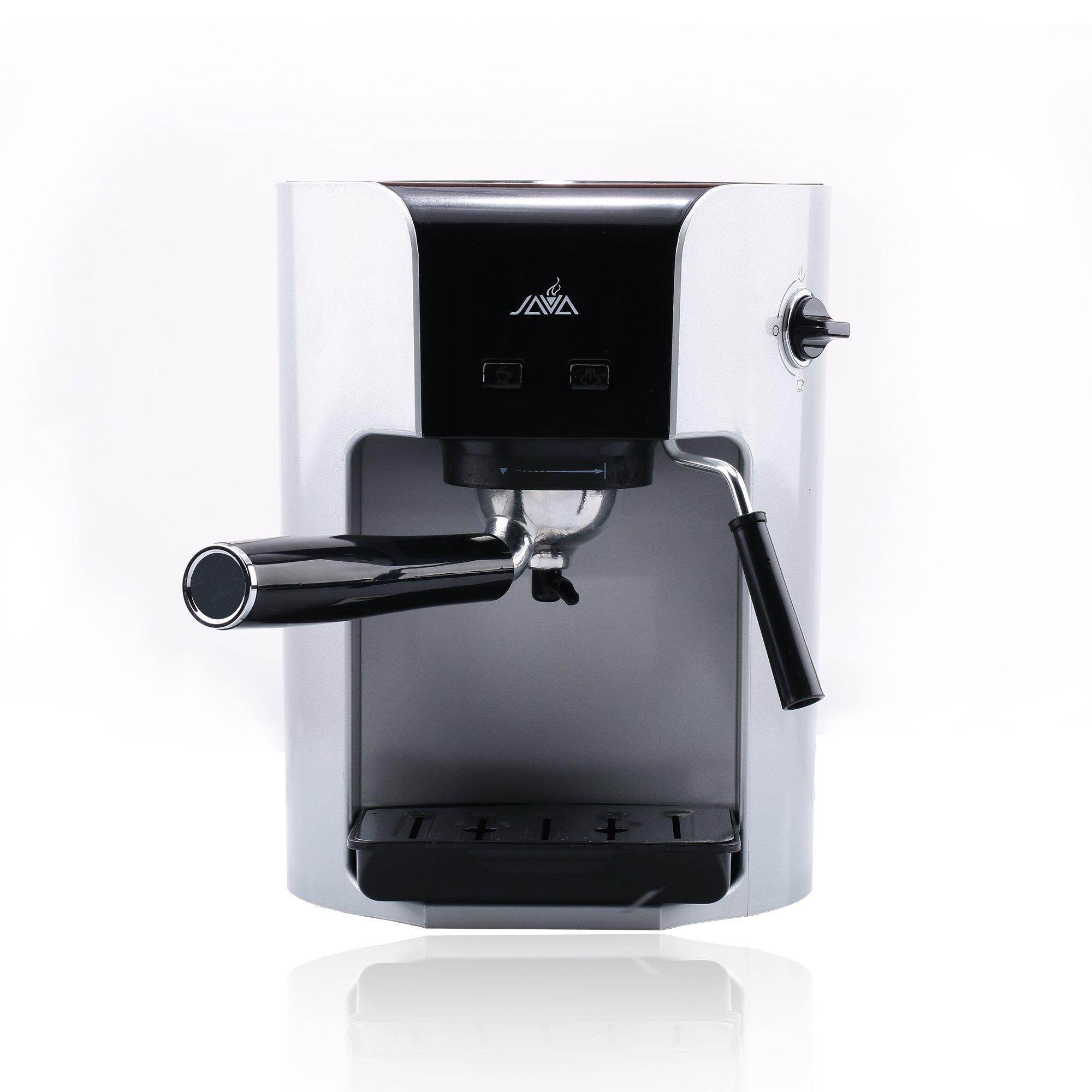 Java WSD18-050 Semi Auto ESPRESSO Coffee Maker With Milk Frother Coffee Pod Coffee Power Hard Capsule Drip Coffee Machine,Silver by JAVA