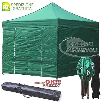 Carpa plegable 3 x 3 m verde Stand Mercado eventos Tutti I toallas revestimiento de PVC impermeable 100%: Amazon.es: Jardín