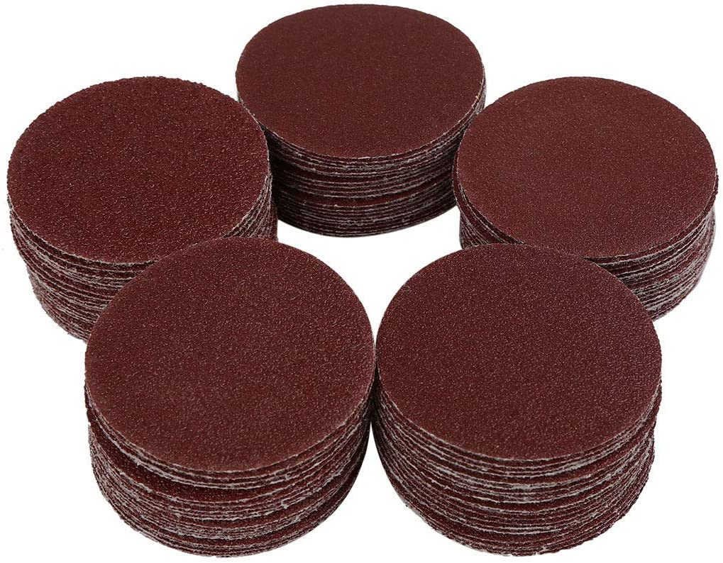 100pcs 2-inch hook and loop sanding discs 60 80 100 120 150 Assorted grain sandpaper
