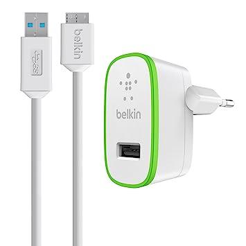 Belkin F8M865vf03 - Cargador USB doméstico de dispositivos móviles con cable de USB 3.0 a Micro B (10 W/2,1 A, ultracompacto, compatibilidad ...