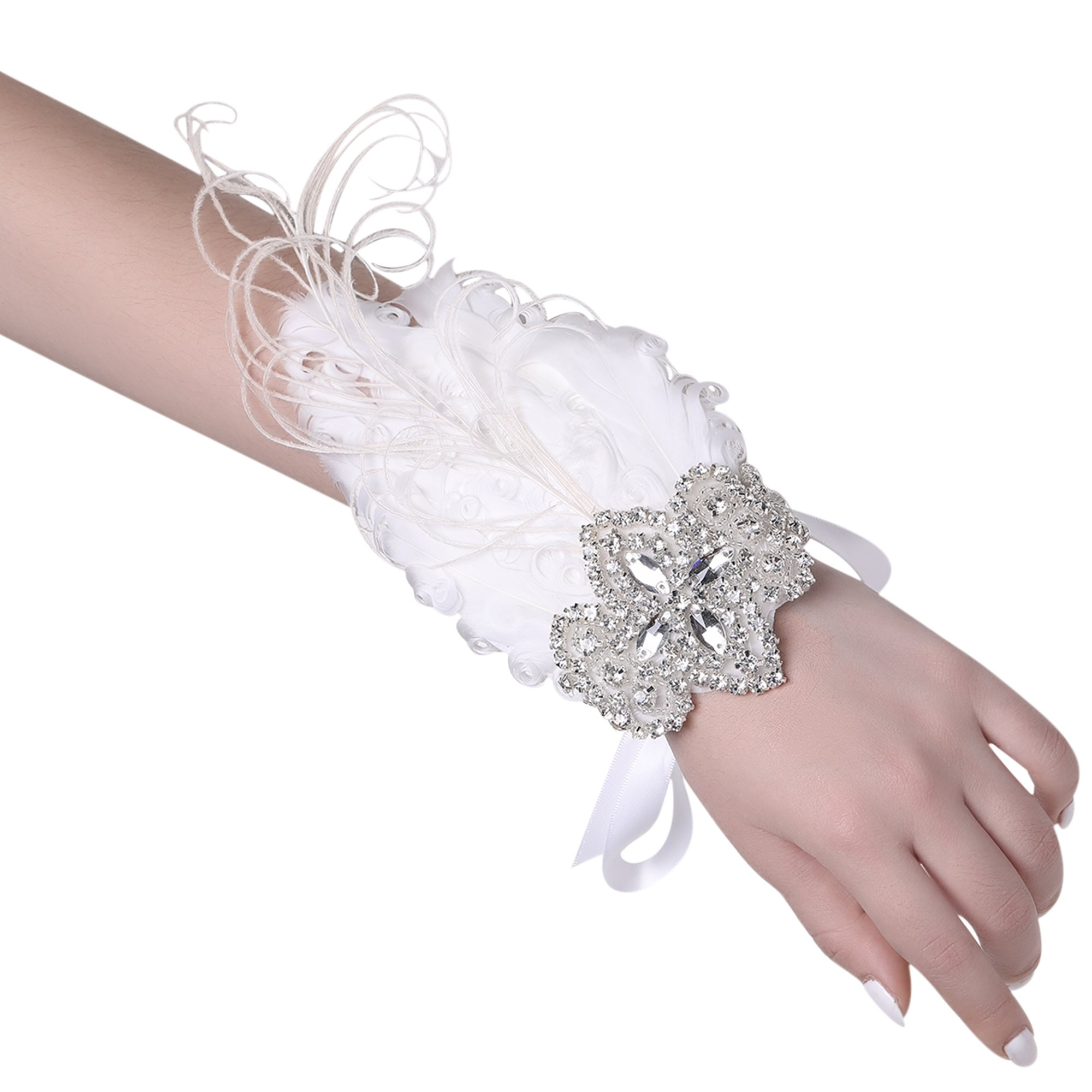 BABEYOND 1920s Wedding Wrist Corsage Gatsby Peacock Feather Bridal Wristband Corsage Roaring 20s Flapper Wedding Costume Accessories (White by BABEYOND (Image #1)