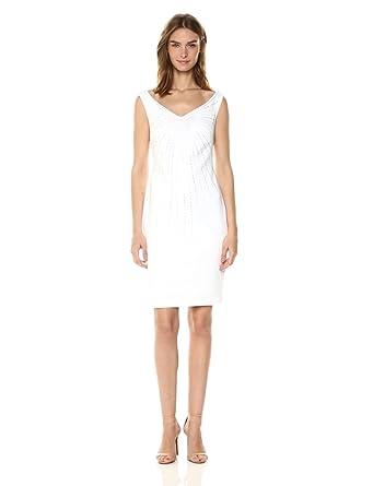 8a526d7f4d79 Calvin Klein Women's Off The Shoulder Sheath with Embellishment Dress, White,  ...