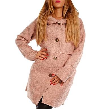 Damen Oversized Jacke Herbst Winter Mantel mit Schalkapuze Brit-Chic,  Farbe Altrosa  78099bdd48