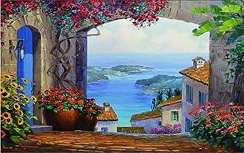 Benutzerdefinierte 3D Tapete, Mediterrane Gartenlandschaft Malerei, Tv  Hintergrund Dekoration Wandbild 250cmx175cm