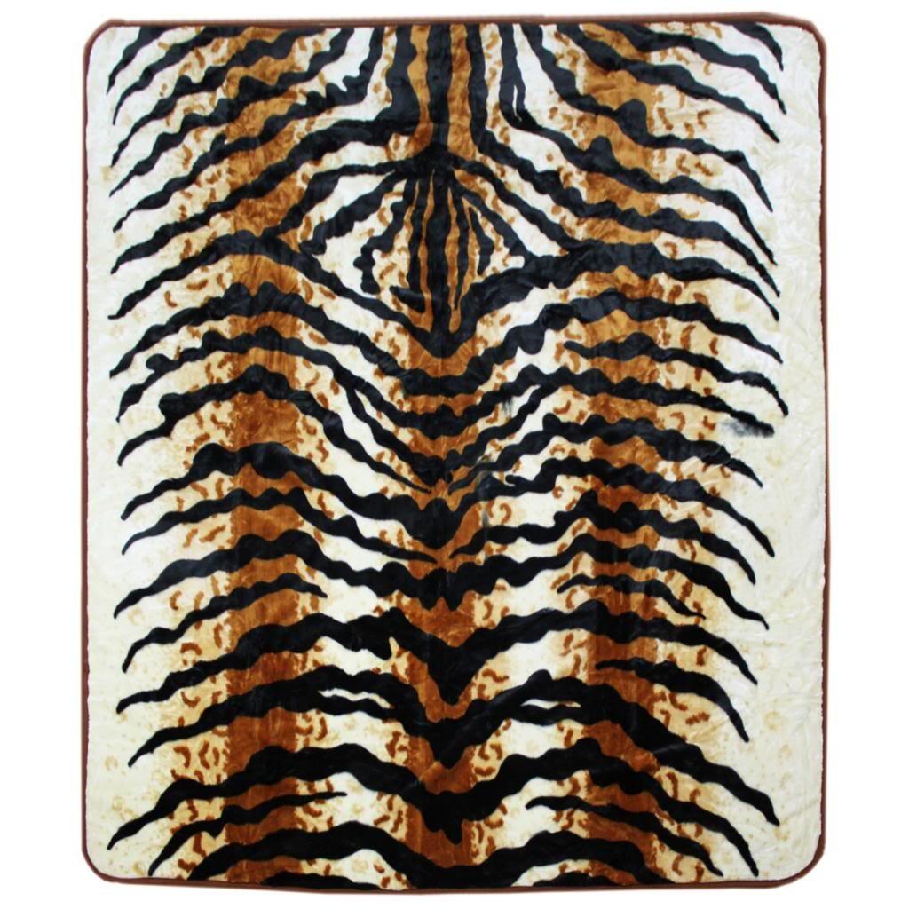 Clara Clark 79 by 95-Inch Micro Mink Animal Raschel Blanket, Full, Bengal Tiger