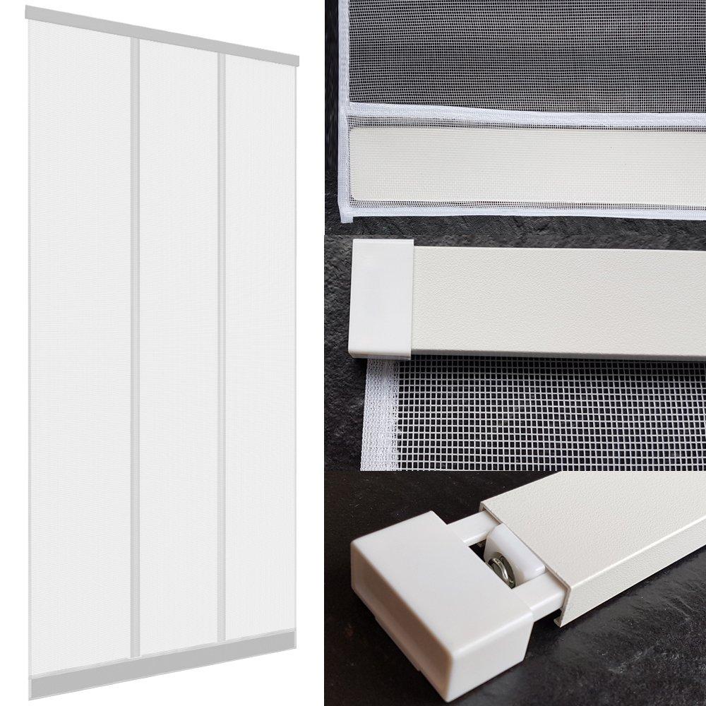 Moustiquaire à lamelles pour portes 100 x 220 cm avec profil en aluminium - Rideau moustiquaire en fibre de verre et avec des poids cousus, Couleur:Blanc PROHEIM