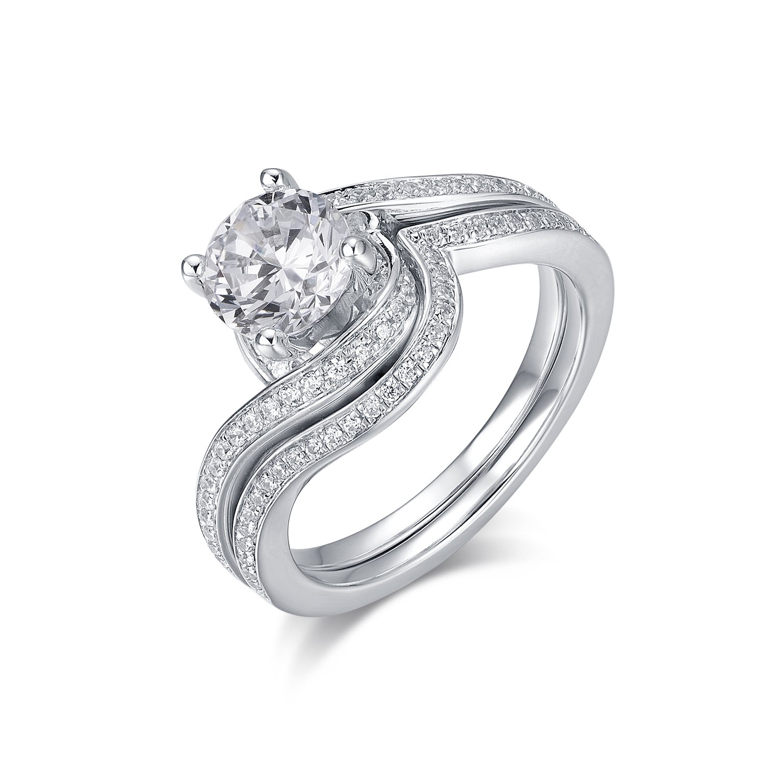 Hafeez Center Rhodium Plated Sterling Silver 4-Prong Set Round Brilliant Cut CZ Bridal Set Ring (9.5)