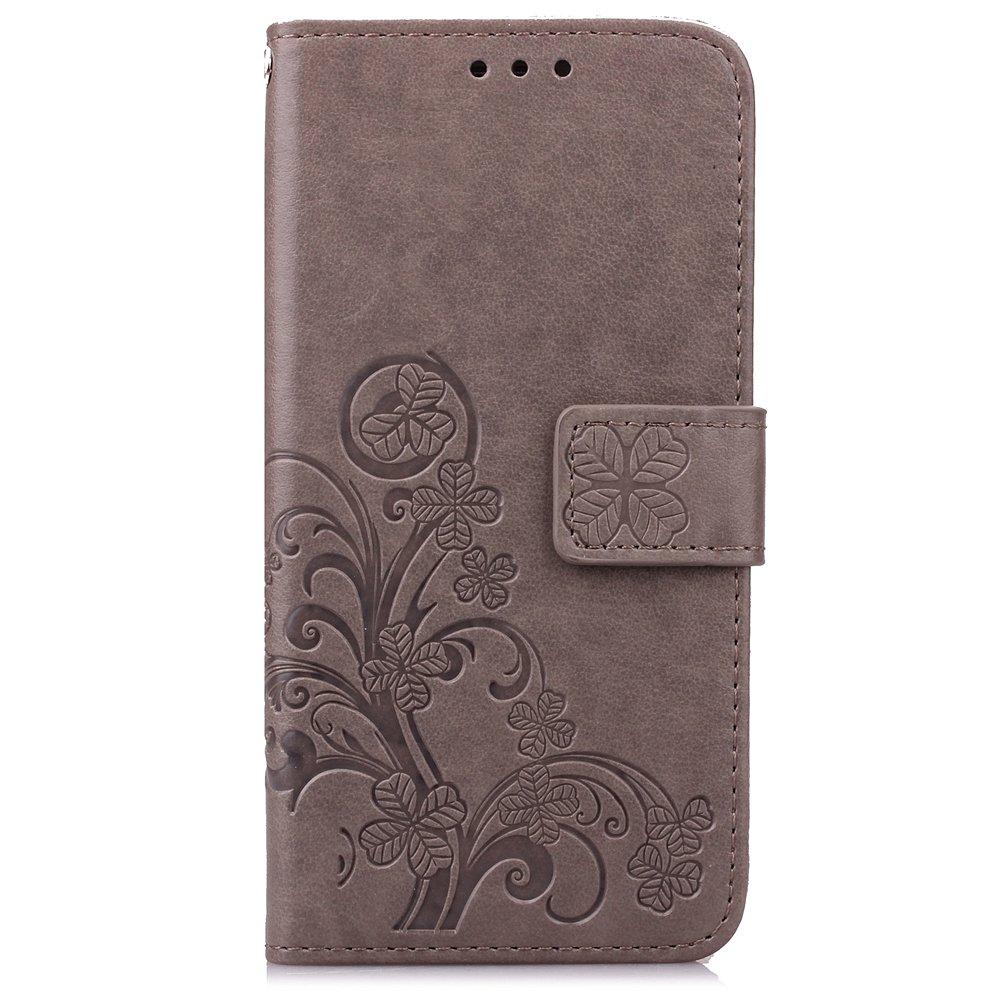 Qiaogle T/él/éphone Coque - SD04 // Gris Lucky Clover 5.2 Pouce PU Cuir Rabat Wallet Housse Case pour Sony Xperia Z4 // Xperia Z3 Plus // E6533