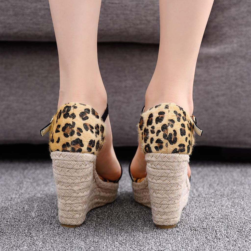Women's Peep-Toe Sandals,Summer Plus Size Sandals Bohemia Thick Bottom Sandals Black