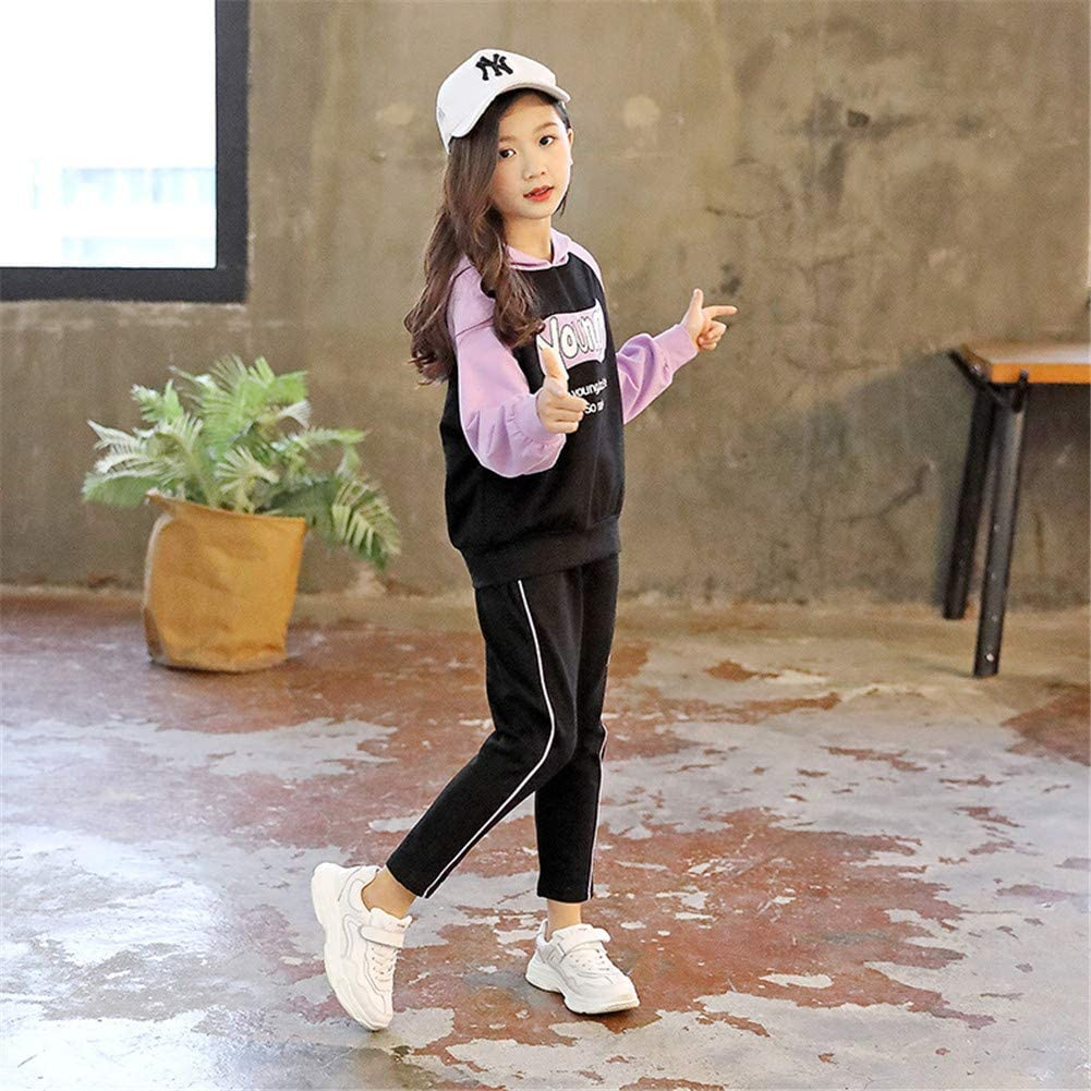 Striped Pants FTSUCQ Girls Hoodie Tracksuits Contrast Color Sweatershirt Coat