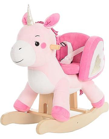 Labebe Bebé Mecedora Madera, Mecedora Felpa, Juguete Caballo Mecedora Rosa Unicornio para bebé 1