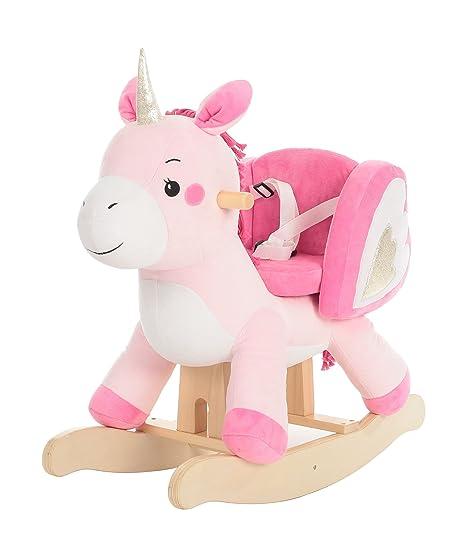 Cavallo A Dondolo In Legno.Labebe Cavallo A Dondolo Legno Inicorno Cavalcabile Bambino