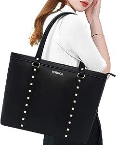 UMODA Laptop Bag,Long Shoulder Strap Laptop Tote Bag for Women,Large Work Tote (15.6in-Black)