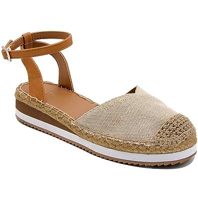 ec724e638f Nautica Women's Nadana Espadrille Platforms Sandals Closed Toe Ankle Strap  Summer Shoes-Natural-6