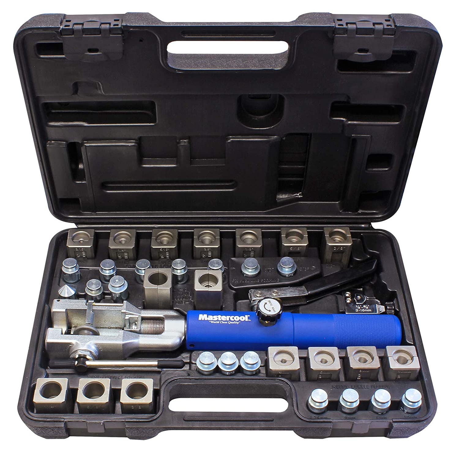 "MASTERCOOL 72485-PRC Silver/Blue Universal Hydraulic Flaring Tool (3/8""&1/2"" Transmission Cooling Line Die/Adapter Sets Plus Tube Cutter)"