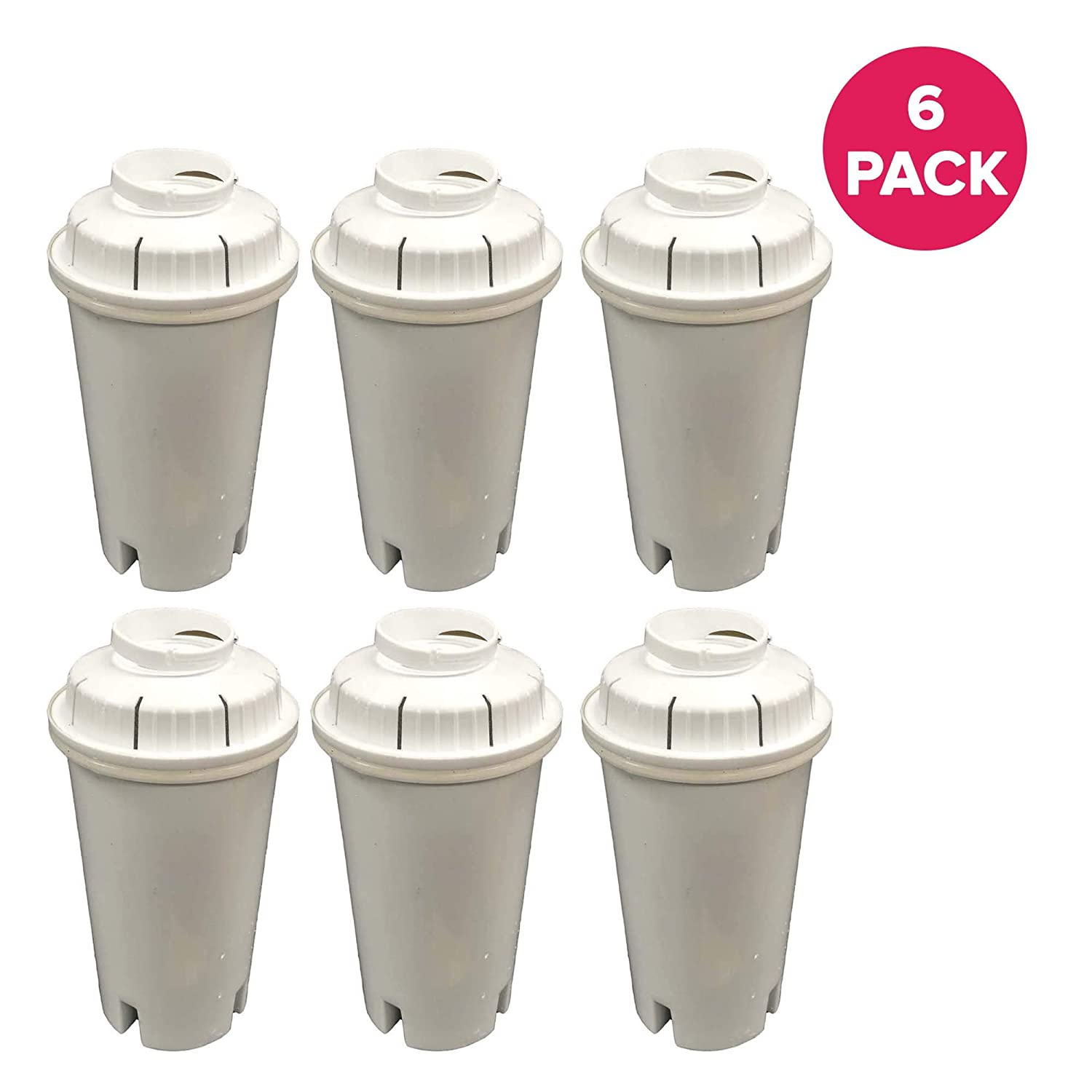 Fits Pitchers /& Dispensers Think Crucial 6 Replacements for Brita Water Filter
