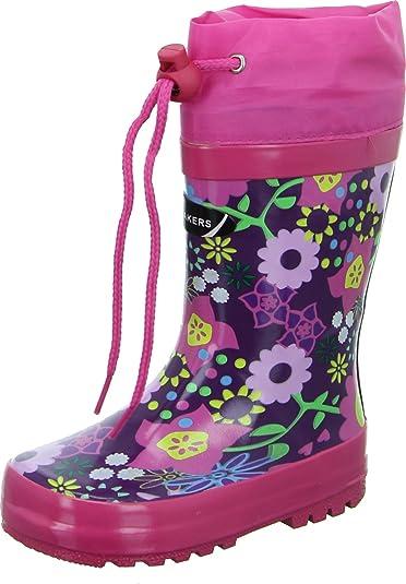 Gummistiefel Textil Blumenmuster Schnellverschluss Wasserdicht 20130131 Kleinkinder Mädchen Sneakers FarbePinklila Kinderschuh H9WD2IYE