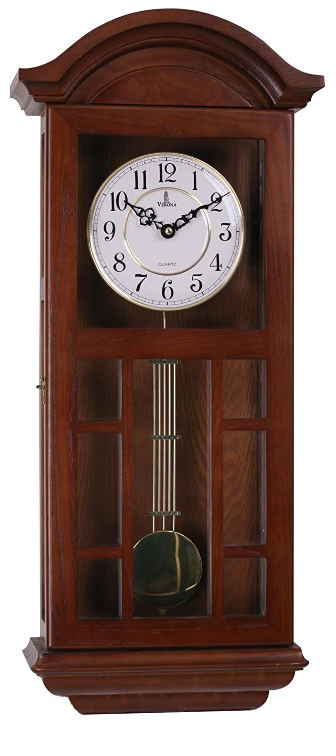 "Pendulum Wall Clock Battery Operated - Quartz Wood Pendulum Clock - Silent, Large Dark Wooden Design, Decorative Wall Clock Pendulum For Living Room, Office, Kitchen & Home Décor Gift, 27"" x 11.5"""