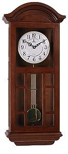 "Pendulum Wall Clock Battery Operated - Quartz Wood Pendulum Clock - Silent, Large Dark Wooden Design, Decorative Wall Clock Pendulum For Living Room, Office, Kitchen & Home Décor Gift, 27"" x 11.5"""