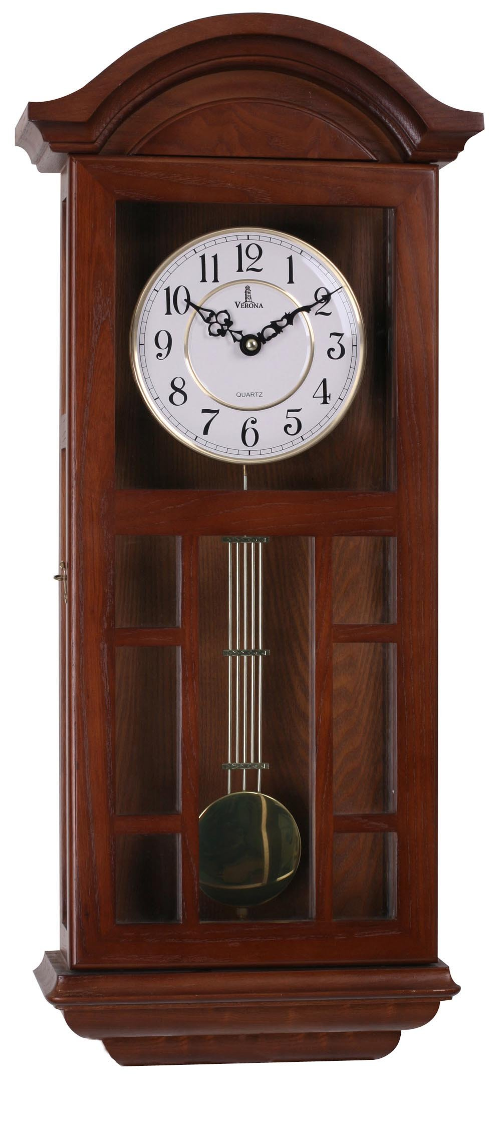 Verona Wood Pendulum Wall Clock with Cutout Design & Glass Front - Elegant & decorative clock with dark brown finish and glass front – 27 x 11.5 x 4.75 inch –Quartz movement, battery operated & silent by Verona Clocks