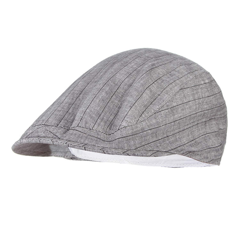 Summer Hat for Women Striped Flat Cap Men Visor Beret Hat Adjustable Peak Newsboy Cap
