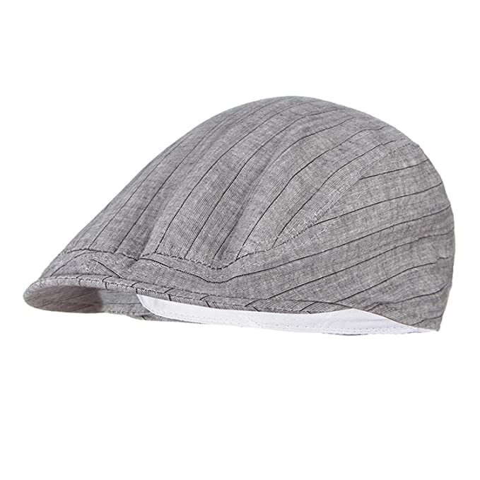 36ab3d4863231 Summer Hat for Women Striped Flat Cap Men Visor Beret Hat Adjustable Peak  Newsboy Cap Grey