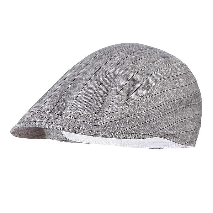 f760fd1d25761 Summer Hat for Women Striped Flat Cap Men Visor Beret Hat Adjustable Peak  Newsboy Cap Grey