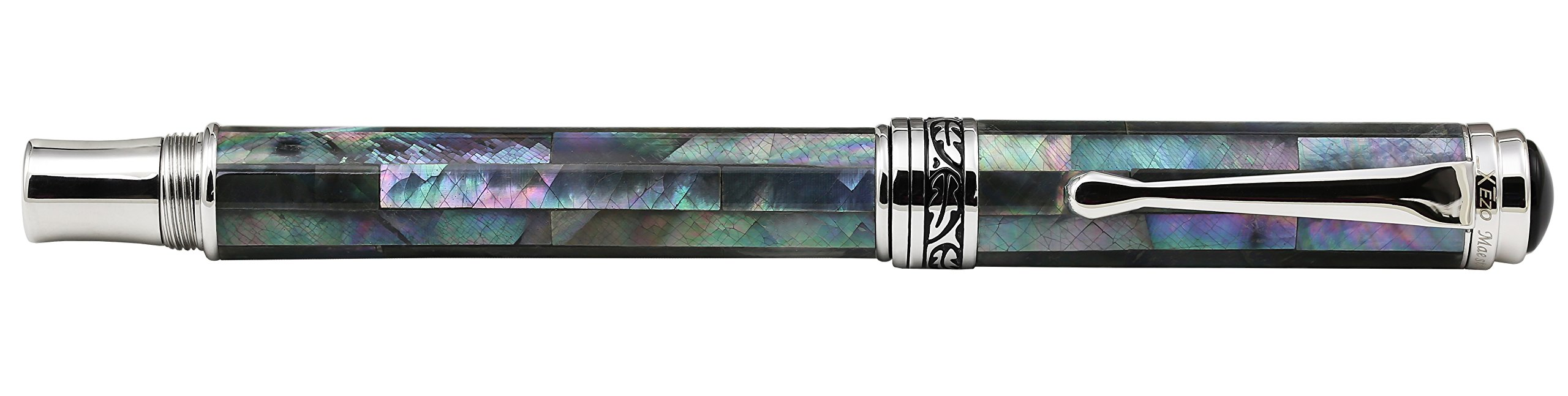Xezo Maestro Iridescent Natural Black Mother of Pearl Platinum Plated Fine Fountain Pen. No Two Pens Alike by Xezo (Image #5)
