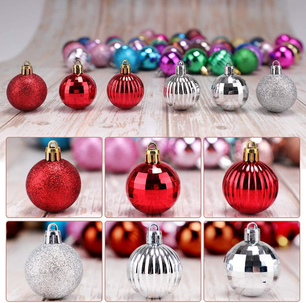 Bronze walsport Christmas Balls Ornaments for Xmas Tree 36ct Plastic Shatterproof Baubles Colored and Glitter Christmas Party Decoration 1.6inch Set