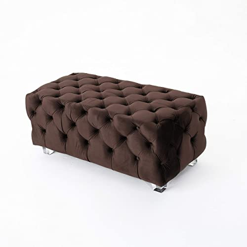 Christopher Knight Home Lazio Tufted Velvet Ottoman Chocolate ,