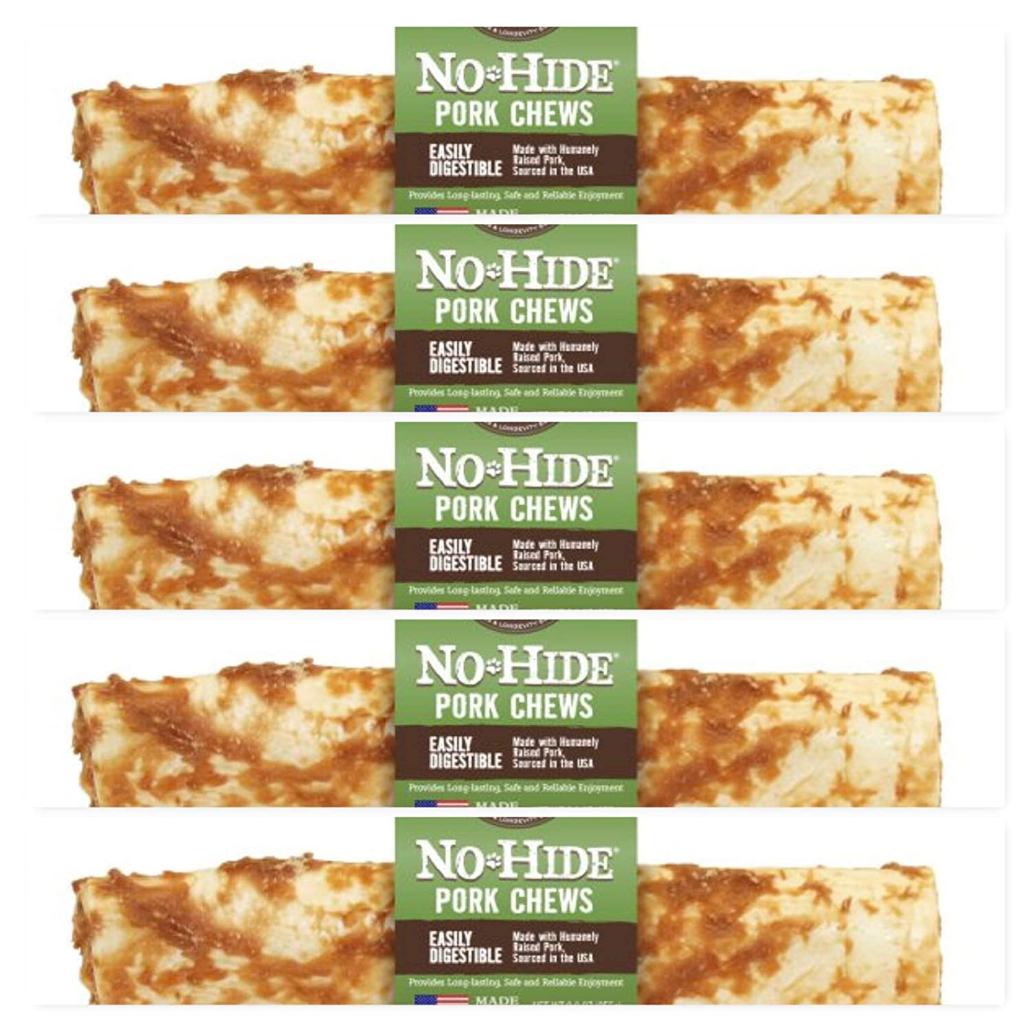 Earth Animal 5 Pack of No-Hide Pork Chews, 7 Inch, Rawhide Alternative for Dogs