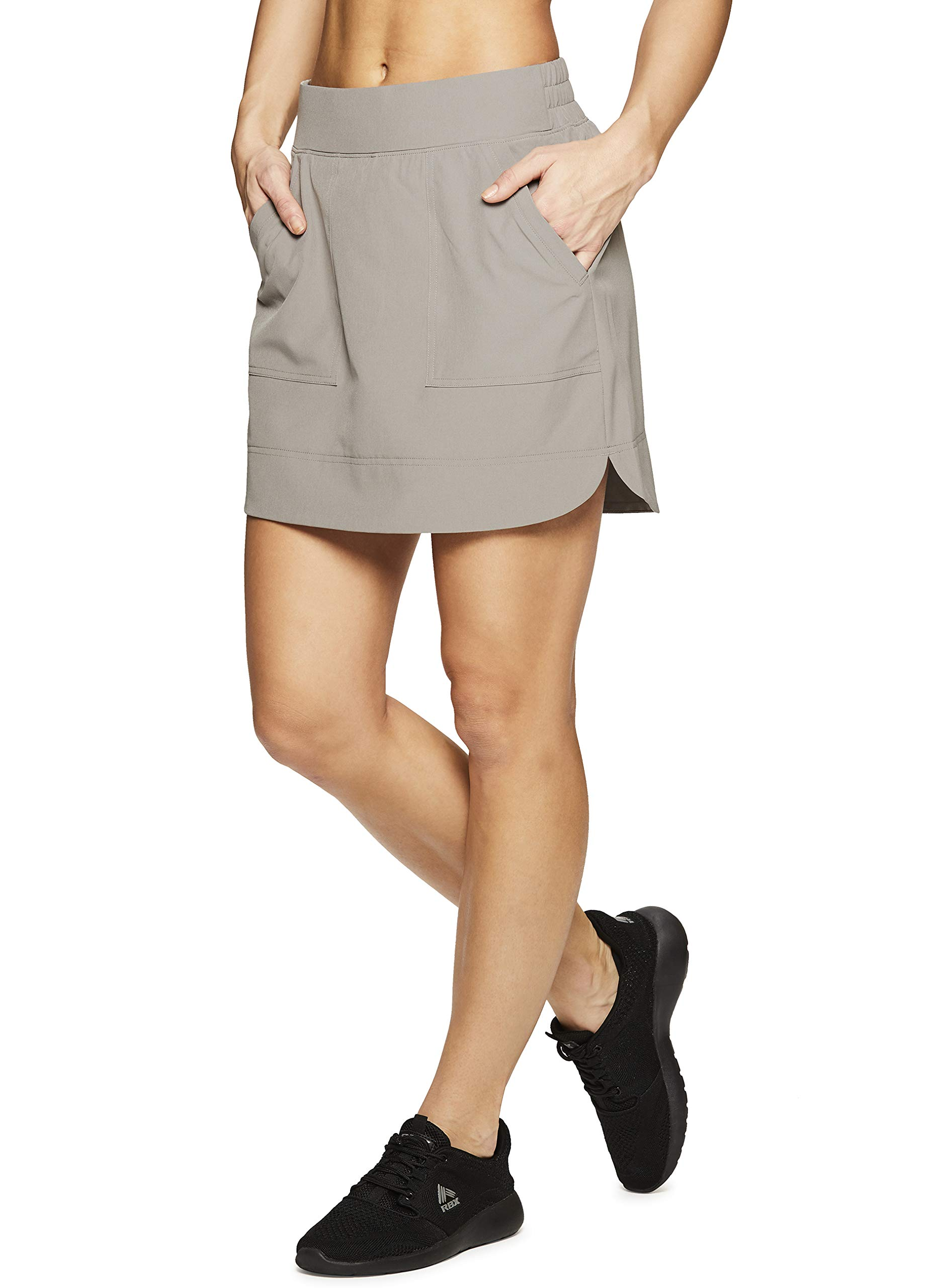 RBX Active Women's Golf/Tennis Athletic Skort with Bike Shorts and Pockets Spring Taupe S