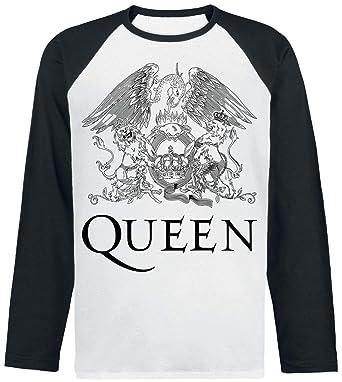 Queen Crest Vintage Camisa Manga Larga Negro-Blanco: Amazon.es: Ropa y accesorios