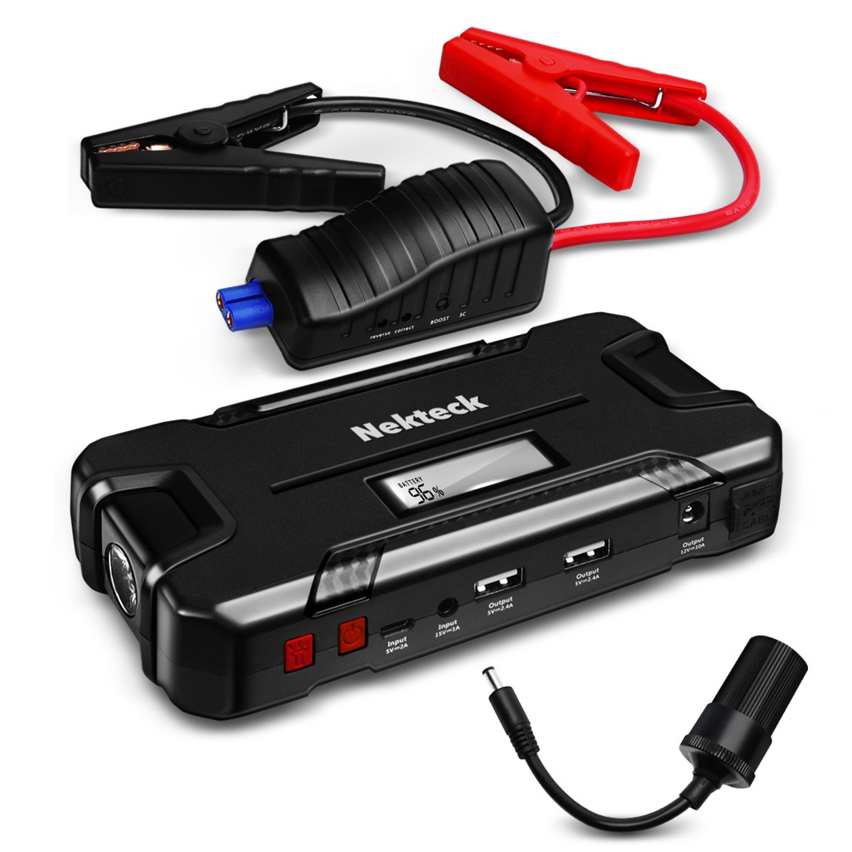 Nekteck Car Jump Starter Automotive Battery Booster And 12000mAh Portable External Battery Charger For Vehicles, Motorcycle, Boats, Smartphone, With LED Flashlight And 12V Output 500A Peak Current