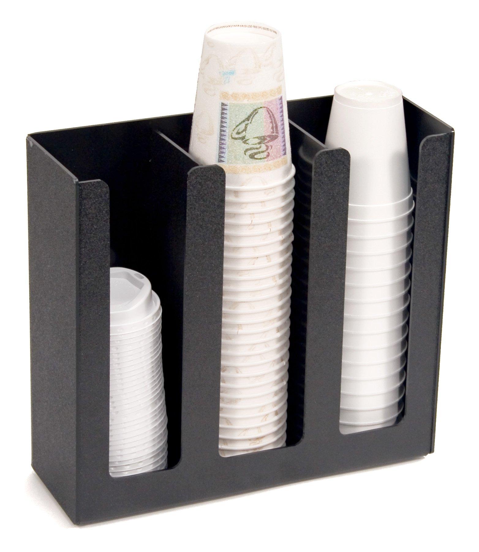 Vertiflex 3-Column Cup and Lid Holder, 12.75 x 4.5 x 11.75 Inches, Black (VFPC-1000) by Vertiflex
