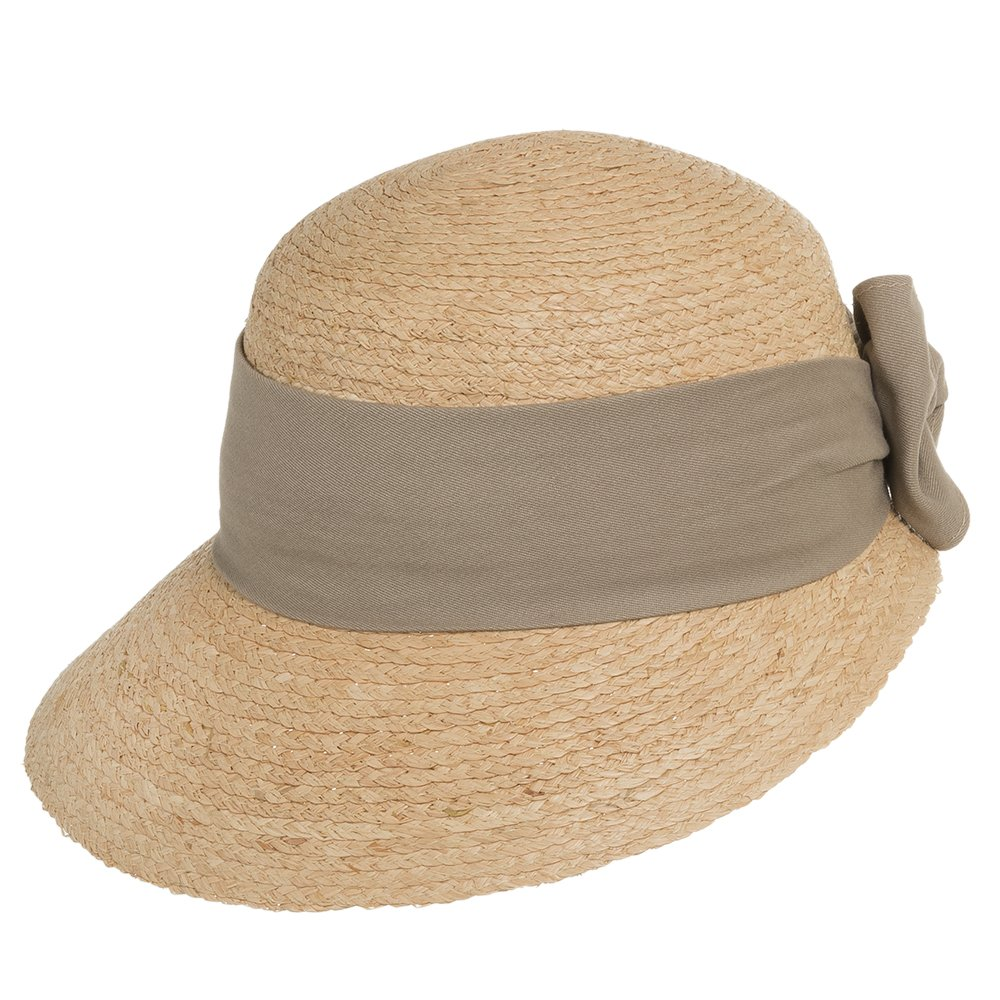 Ultrafino Golf Visor Scoop Panama Straw Hat Womens Khaki Hatband 7 by Ultrafino