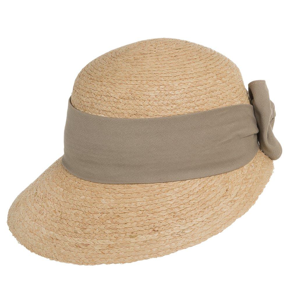 Ultrafino Golf Visor Scoop Panama Straw Hat Womens Khaki Hatband 7 1/8