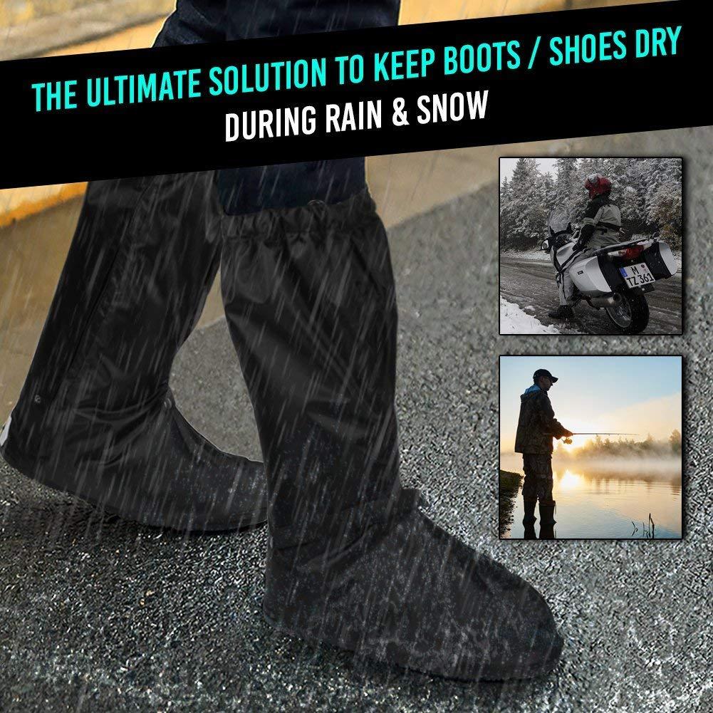 Anti Slip Waterproof Motorcycle Rain Boots Shoe Covers size Men 10-11 for Bike