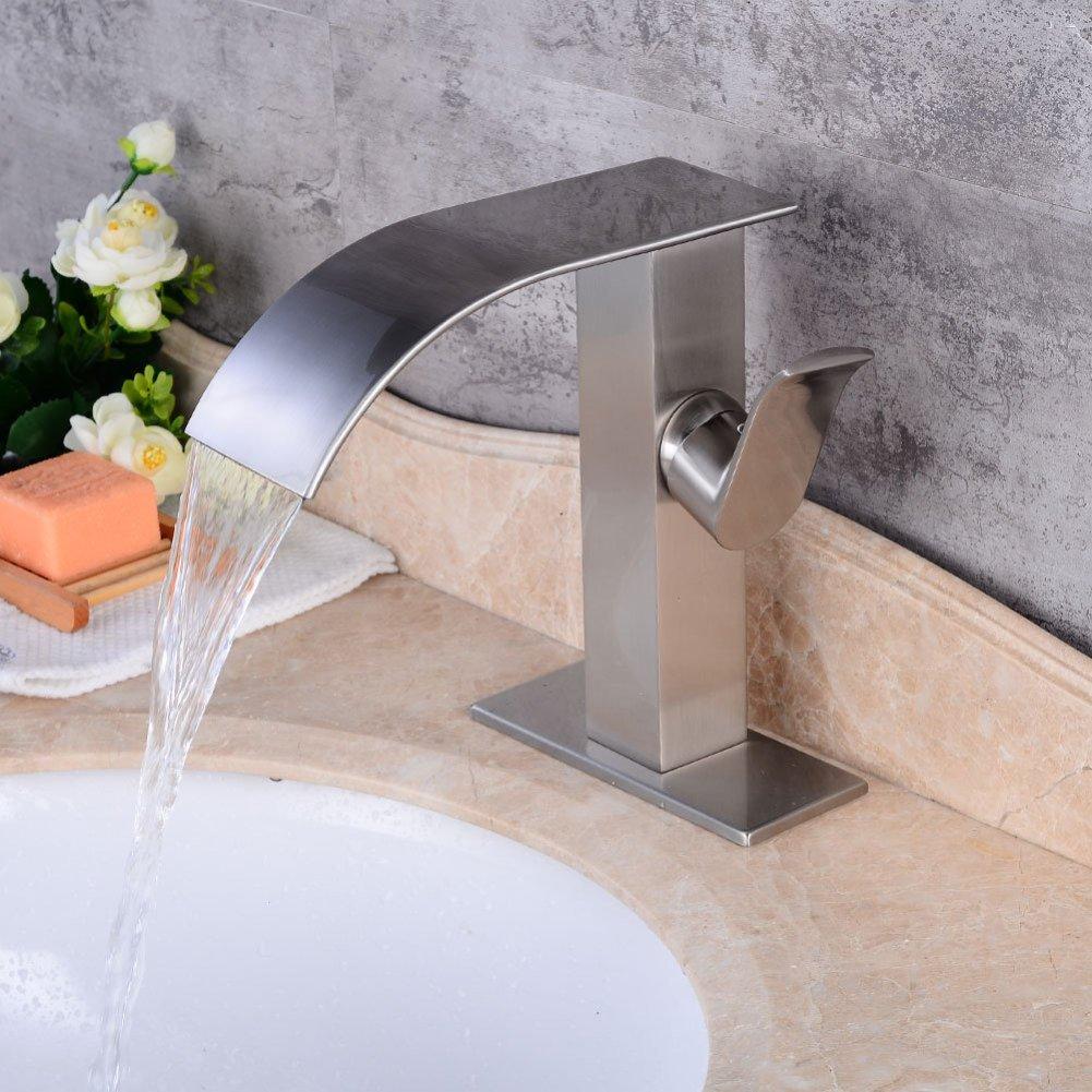 ZXY Bathroom Sink Taps European retro copper single handle basin faucet home bathroom hot and cold mixing faucet,Silver