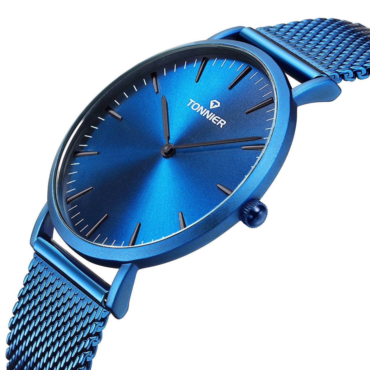 Tonnier Deep Blue Stainless Steel Band Slim Mens Watch Quartz Ocean Depths Blue Watch Face for Men