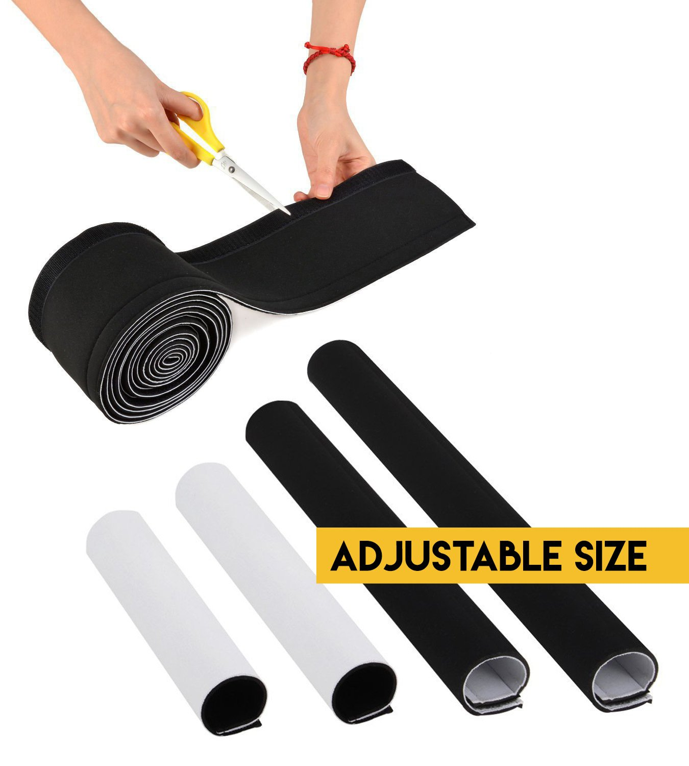Adjustable Cable Organizer Sleeves (2 Pack x 35'') by Astorn. Reversible Black & White Neoprene Cord Organizer Sleeve Wraps. Cord Protector from Pets, Hiding Wires by Astorn (Image #2)
