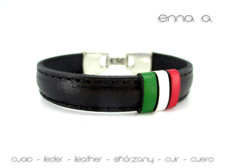 Bandera de la república de Italia, Pulsera de cuero negro, banderas de paises del mundo, pulseras especiales ...
