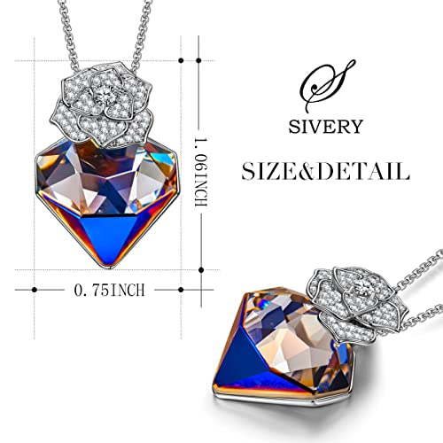SIVERY Birthday Gifts for Mom Rose Lover Women Pendant Necklace Jewelry with New Crystals from Swarovski, Gifts for Girlfriend, Jewelry for Women