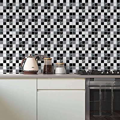 Buy Wallpaper For Bathroom Self Adhesive Removable Peel And Stick Wallpaper 17 71 In X118 In Mosaic Black White And Grey Kitchen Wallpaper Countertop Vinyl Film Online In Poland B091ghvv1f