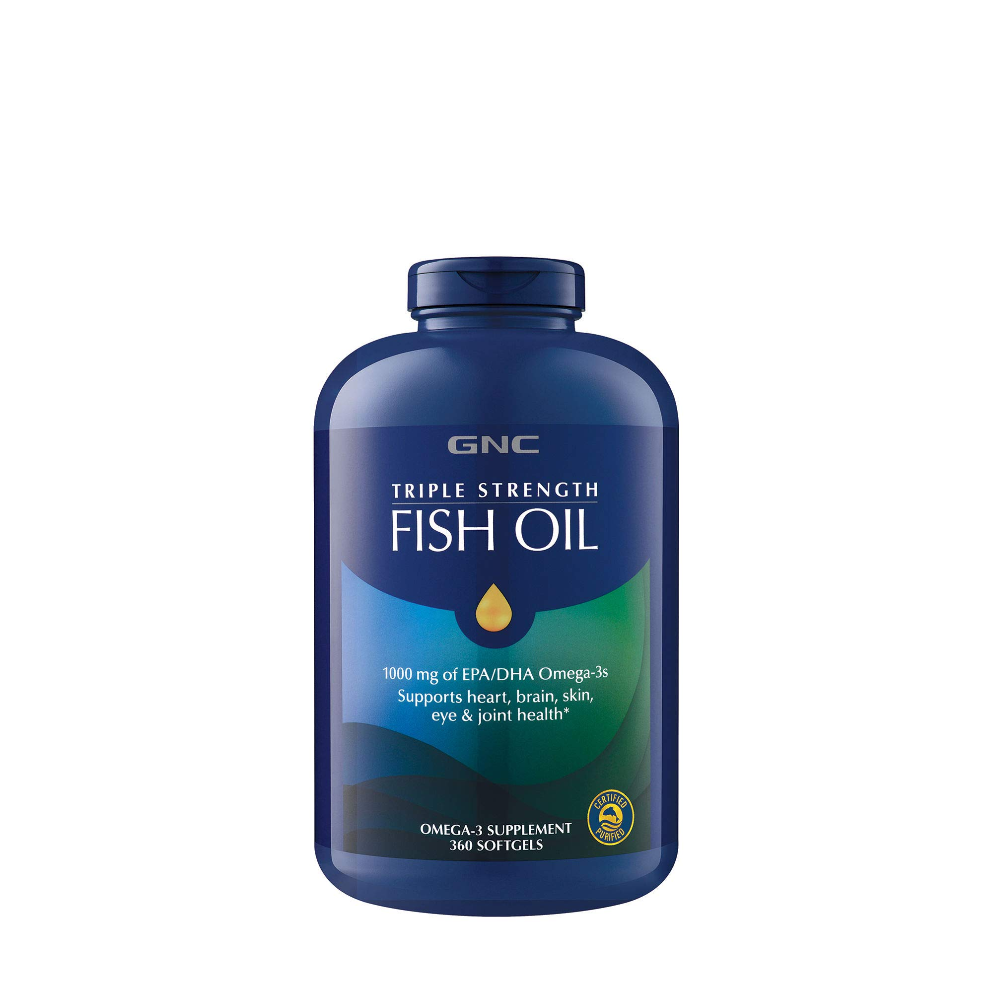 GNC Fish Oil 1000 Milligram of EPA/DHA Omega 3s for Joint, Skin, Eye, and Heart Health - 360 Softgels