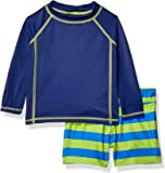 Amazon Essentials Baby Boys Long-Sleeve Rashguard and Trunk Swimsuit Sets