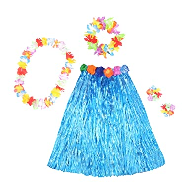 Kids Girl Hawaiian Hula Grass Skirt Lei Headband Wristband Dance Dress Skirt US