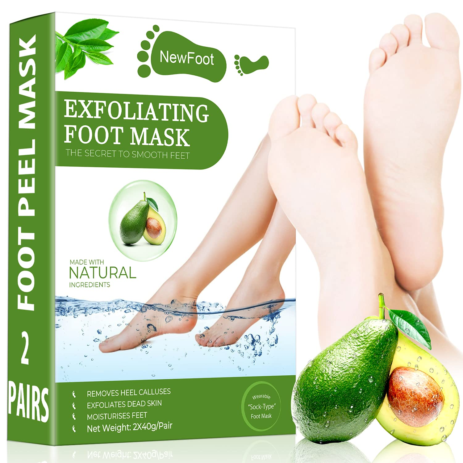 Foot Peel Mask - 2 Pack-Removes & Repairs Cracked Heels &Dead Skin & Calluses & Dry Toe Skin Makes Your Feet Baby Soft with Natural Foot Care for Men and Women