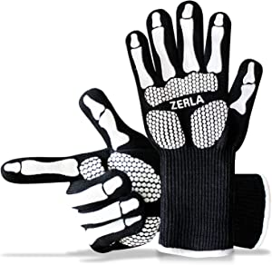 "ZERLA Heat Resistant Gloves – Protective Gloves Withstand Heat Up to 932℉ – Use As Oven Mitts, Pot Holders, Heat Resistant Gloves for Grilling – Features 5"" Cuff for Forearm Protection"
